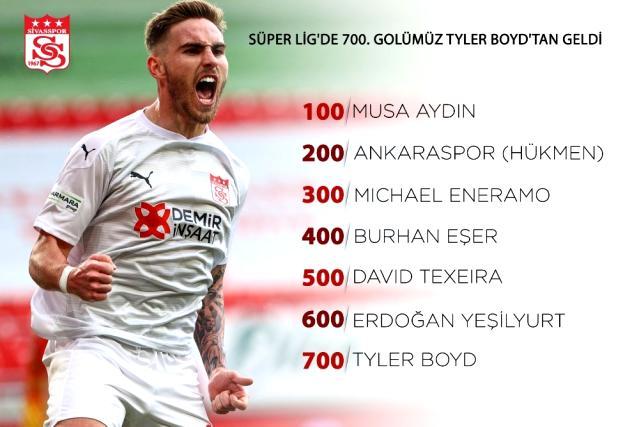 Sivasspor'un 700. golü Tyler Boyd'dan geldi!